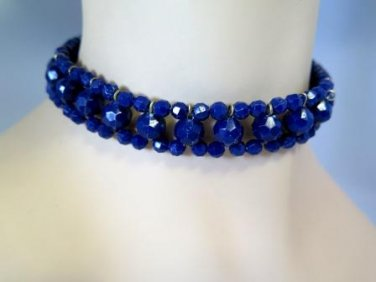 Blue Faceted Bead Choker Vintage