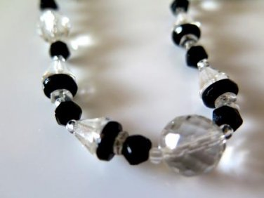 Clear and Black Faceted Bead Choker Vintage