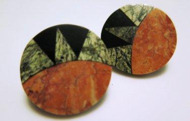 Aztec Look Disc Earrings Pierced