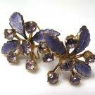 Amethyst Rhinestone Flower Earrings Pierced Vintage