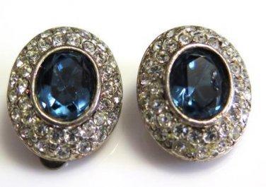 Vintage Roman Sapphire Rhinestone Earrings