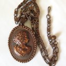 Copper Cameo Pendant Brooch Necklace