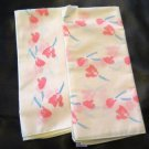 Vintage Table Napkins Salmon Pink Flowers Thailand