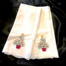 Appliqued Cotton Finger Towels Christmas Tree