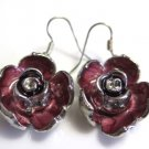 Enameled Rose Pierced Earrings French Wire