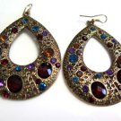 Color Encrusted Brass Hoop Earrings French Wires