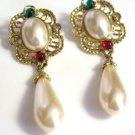 Bold Faux Pearl Drop Earrings Pierced