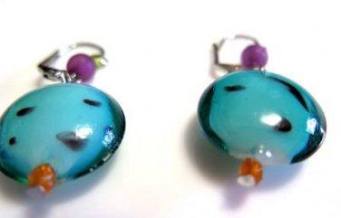 Fun Blue Green Pierced Earrings Leverback