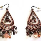 Copper Filigree Pierced Earrings