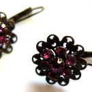 Filigree Pink Rhinestone Earrings Leverback