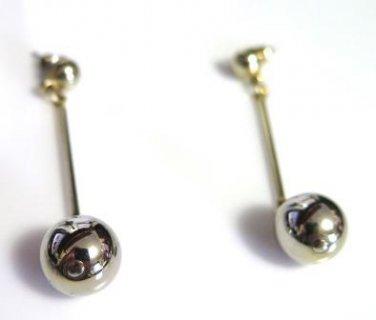 Silver Tone Ball Drop Earrings