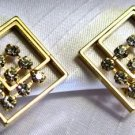 Modern Square Rhinestone Earrings Clip On