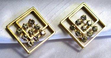 Modern Square Rhinestone Earrings Clip On