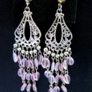 Silver Tone Chandelier Earrings Pink Beads