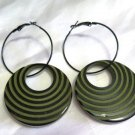 Retro Hippie Style Black Green Stripe Earrings