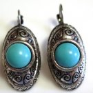 Silver Tone Earrings Turquoise Cabochon