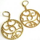Hammered Gold Tone Metal Hoop Earrings Leverback