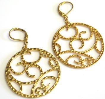 Hammered Gold Tone Metal Hoop Earrings Leverback