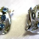 Silver Tone Blue Rhinestone Clip On Earrings