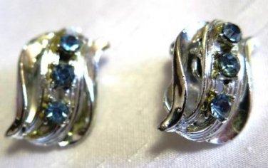 Silver Tone Blue Rhinestone Clip On Earrings