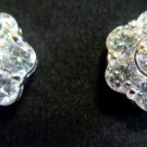 Rhinestone Button Earrings Pierced Post