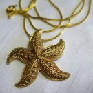 Star Fish Pendant Necklace Gold Tone