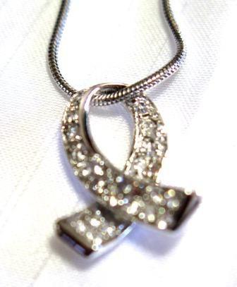 Silver Tone Ribbon Necklace