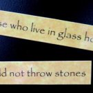 Those Who Live In Glass Houses Should Not Throw Stones Magnet