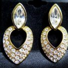 Swarvoski Drop Gold Tone Post Earrings