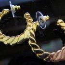 Gold Tone Hoop Earrings Post Back