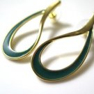 Green Enamel Gold Tone Post Earrings