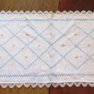 Flower Basket Embroidered Table Runner Dresser Scarf