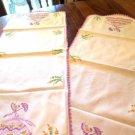 Embroidered Violet Lady Dresser Scarves Table Runners Set of 2