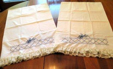 Vintage Embroidered Pillow Case Set Shams Set of 2