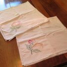 Vintage Embroidered Dish Towels Flour Sacks Set of 2