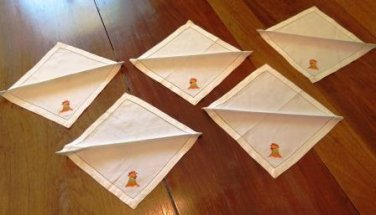 Rooster Embroidered Luncheon Napkins Set of 5