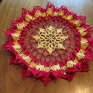 Ruffled Crochet Doily Red and Yellow
