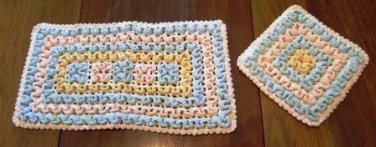 Hot Pad and Pot Holder Pink and Blue Crochet Vintage
