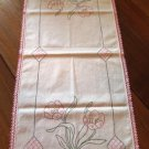 Vintage Crochet Trim Embroidered Table Runner Dresser Scarf