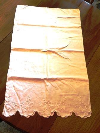 Machine Embroidered Pillowcase Sham White