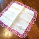 Dainty Lacey Handkerchief Trimmed in Pink Crochet