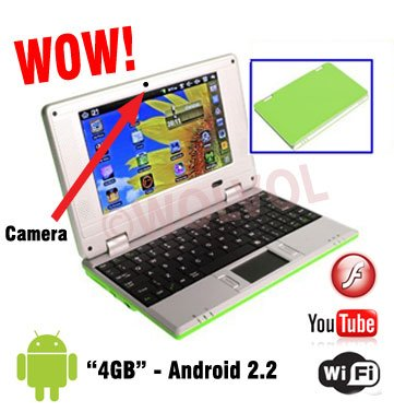 CAMERA Version GREEN 7inch Android Laptop Installed WiFi 4gb/256mb (Pouch Case, Charger, Mouse)