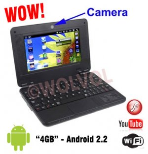 CAMERA Version BLACK 7inch Android Laptop Installed WiFi 4gb/256mb (Pouch Case, Charger, Mouse)