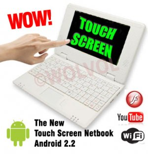 TOUCH SCREEN White 7inch Android Laptop Installed WiFi 4gb/256mb (Pouch Case, Charger, Mouse)