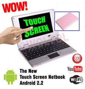 TOUCH SCREEN Pink 7inch Android Laptop Installed WiFi 4gb/256mb (Pouch Case, Charger, Mouse)