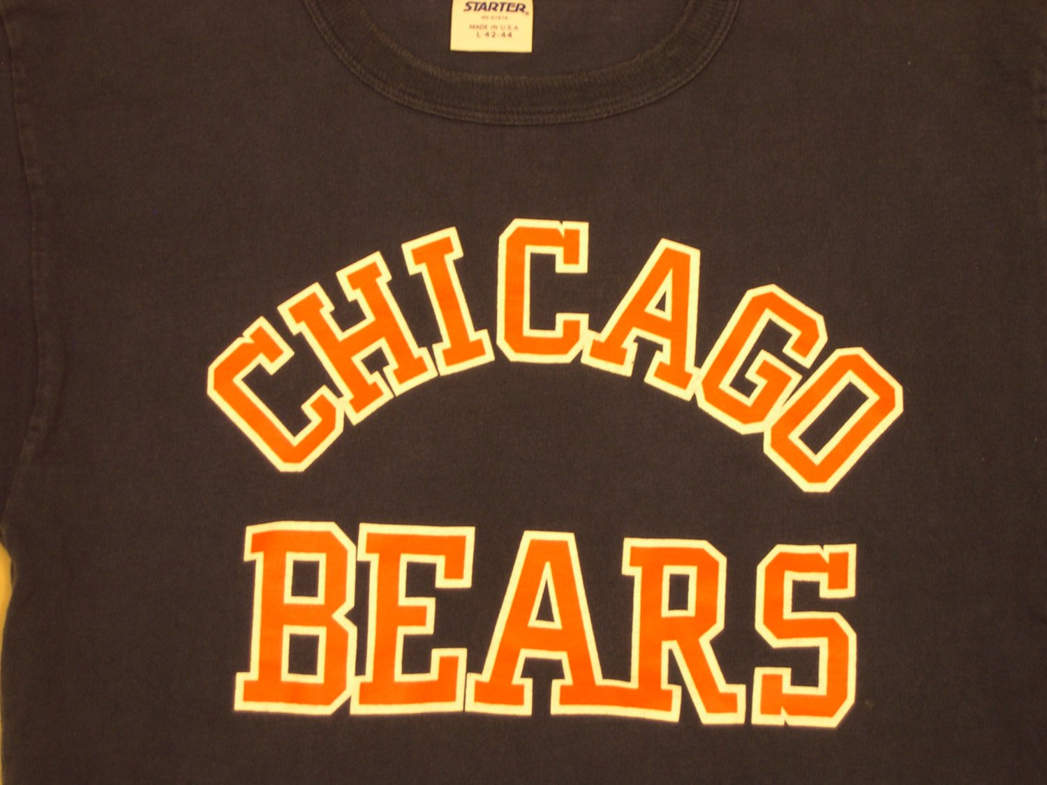 chicago bears nfl classic blue t shirt starter brand With chicago shirt and lettering