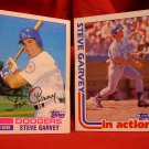 Steve Garvy, 1982, Topps baseball card lot, # 179 & 180 Dodgers