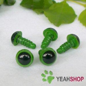 7mm Green Safety Eyes / Plastic Eyes / Animal Eyes - 5 Pairs