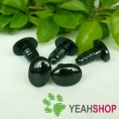 12mmx9mm Black Oval Safety Eyes / Plastic Eyes / Animal Eyes - 5 Pairs