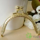 Golden Embossed Purse Frame - Half Round Bead - 8.5cm / 3.3 inch (PF85-2)